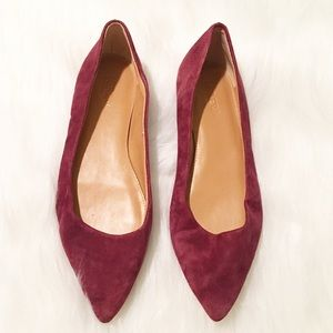 J. Crew Factory burgundy pointed toe flats 7